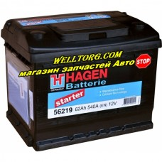 Аккумулятор 56219 Hagen 62Ah (540A)
