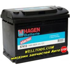 Аккумулятор 57412 Hagen 74Ah (680A)